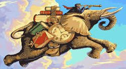 Kenny G riding cargo elephant